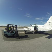 Plane and forklift