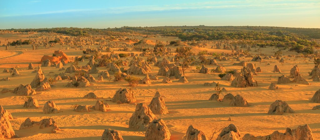 Save Download Preview Aerial view of the valley of the Pinnacles Desert of Nambung National Park at sunset